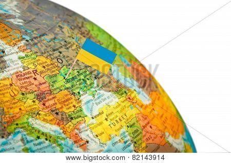 Map With Flag Ukraine