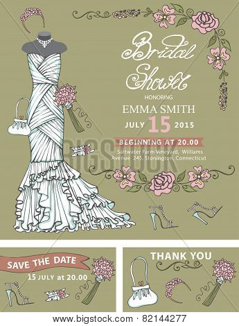 Bridal shower invitation template.Bridal dress,floral decor