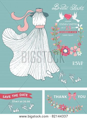 Bridal shower invitation template set.Bridal dress,floral wreath