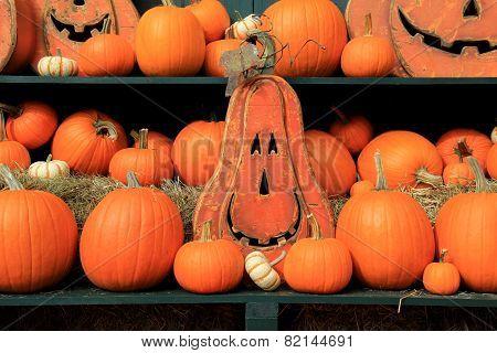 Fall display of pumpkins and Jack-O-Lanterns