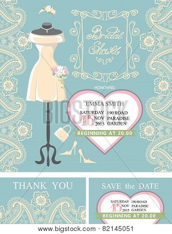 Bridal shower invitation set.Bridal dress,paisley lace,heart