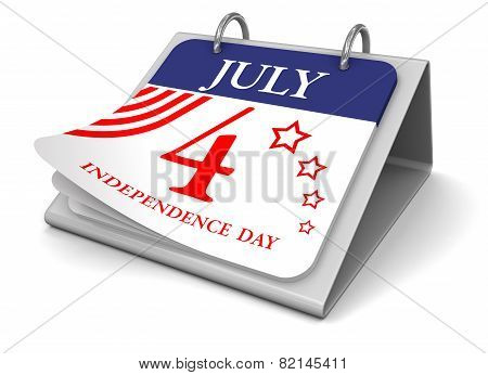 Calendar -  4 July  (clipping path included)