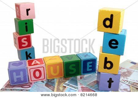 House Debt Risk In Toy Play Block Letters