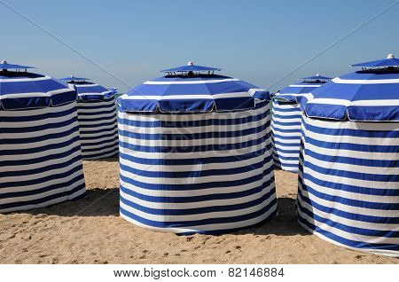 Normandie, Blue Tents On The Beach Of Cabourg