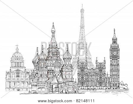 World famous monuments. Paris, London, Moscow. Sketch collection