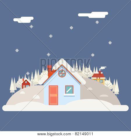 Seasons Change winter Village Hills Field Landscape Icon Website Greeting Card Flat Design Vector Il