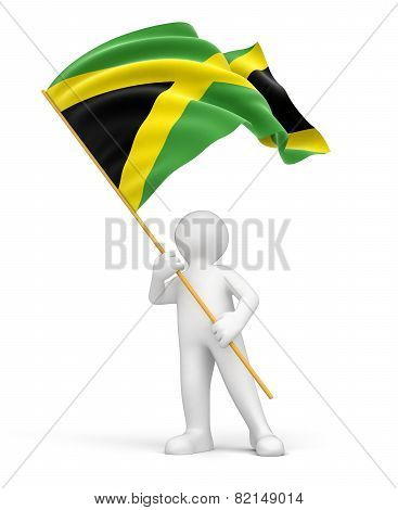 Man and Jamaican flag (clipping path included)
