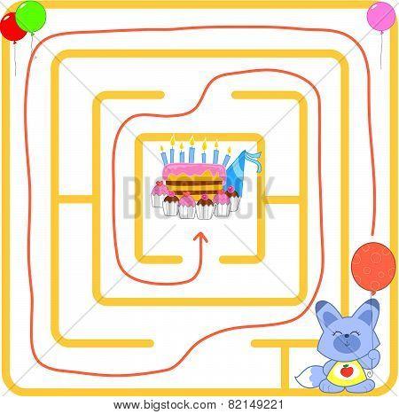 Birthday party maze vector
