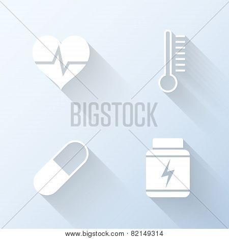 Flat Healthcare Icons With Long Shadows. Vector Illustration