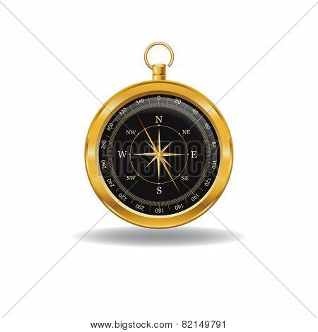 Gold Compass With Windrose.