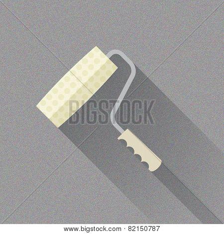 Paint Roller Brush, Flat Vector Illustration
