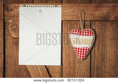 Blank Note And Heart On Wooden Background