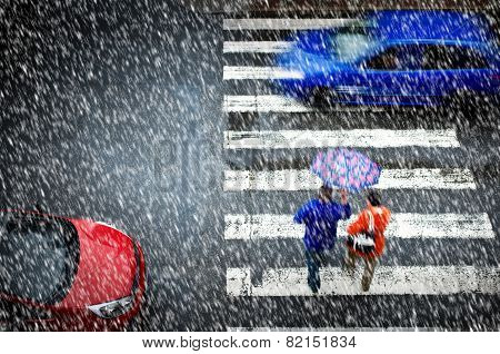 Pedestrian Crossing In The Heavy Snowfall
