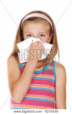 Young Girl Sneezing.