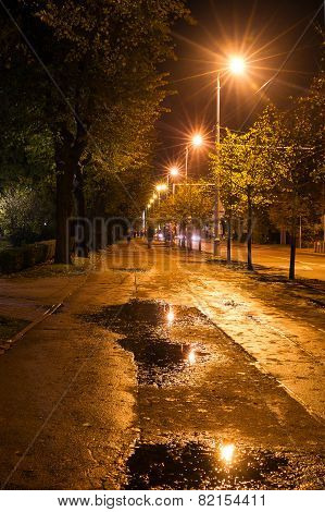 Night Street With Puddles In Riga Under The Bright Lights In The Autumn