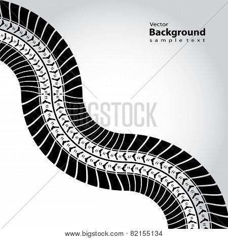 Abstract Background With Black Tire Track, Vector Illustration, Eps10