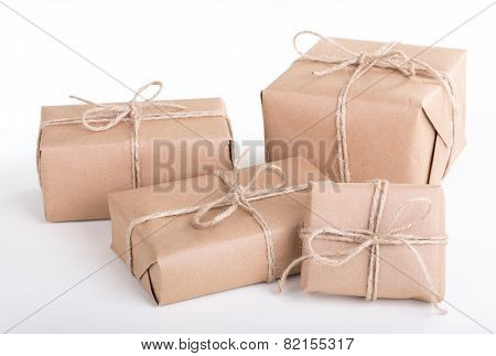 Several Wrapped Brown Packages