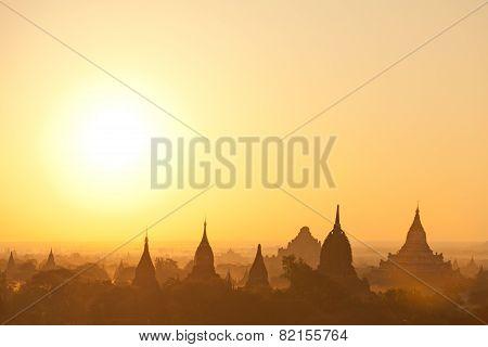 Bagan Pagodas At Sunrise