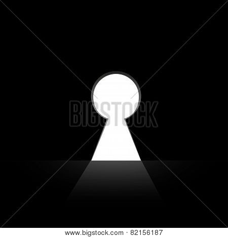 Keyhole in the wall vector illustration with black background