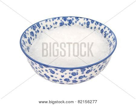 Coarse Sea Salt In A Blue And White China Bowl