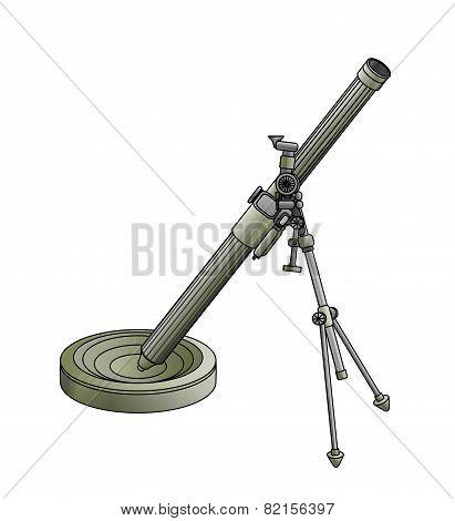 Army Mortar Green Legged On White Background