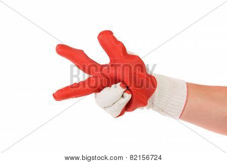 heavy-duty red glove.