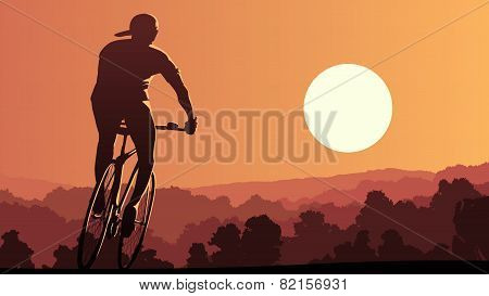 Horizontal Illustration Of Cyclist Rides At Sunset.