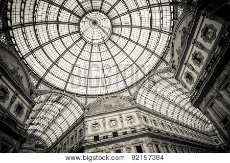 MILAN, ITALY, OCTOBER 02 2014: Dome of Galleria Vittorio Emanuele II after renovation, Milan