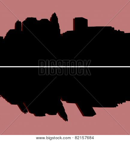 Lower Manhattan Silhouette On Red Background
