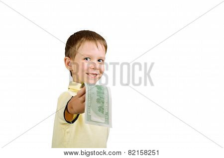 Smiling Little Boy Giving Money Bill 100 Us Dollars Isolated On The White Backgound