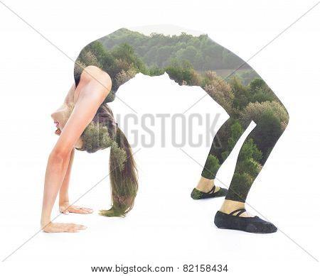 Double exposure yoga