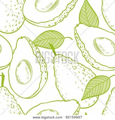 Outline Seamless Pattern With Avocado