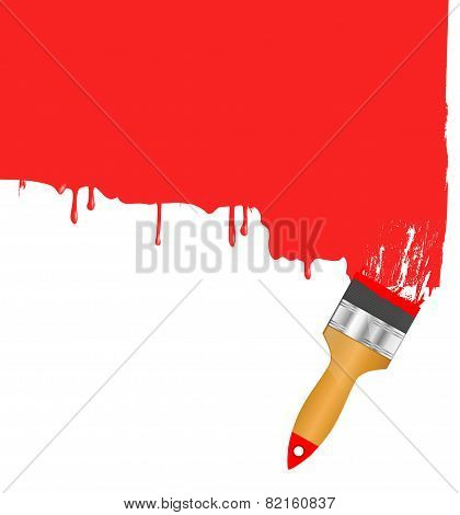 Red paintbrush painting the white wall. Background vector.