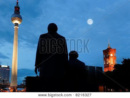 Marx Engels Forum With The Tv Tower In Berlin