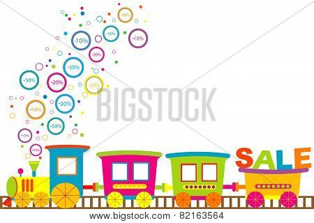 Background For Discount Sale With Cartoon Train And Discount Prices