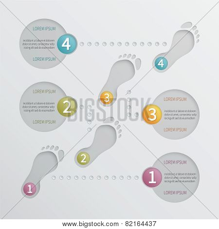 Four Steps Vector Perforated Infographic Template.