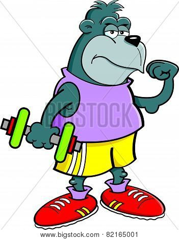 Cartoon gorilla holding a dumbbell.