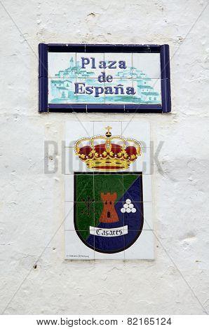 Plaza de Espana sign, Casares.