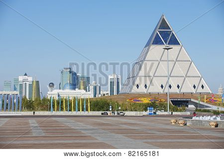 Exterior of the Palace of Peace and Reconciliation building in Astana, Kazakh