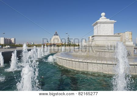 Exterior of the fountain in Astana, Kazakhstan.