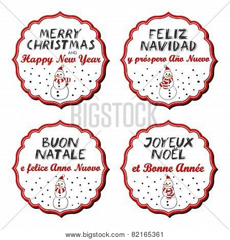 Snowmen in Santa Claus hats with Christmas wishes in English French Spanish Italian sticker set