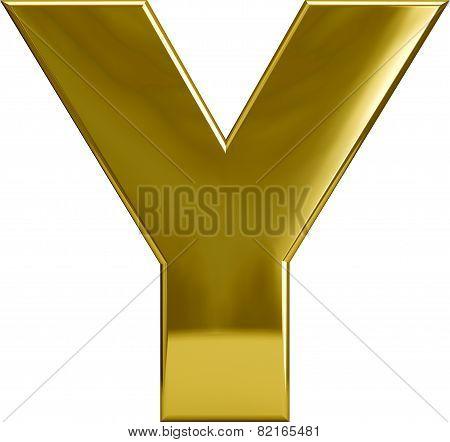 Gold Metal Letter Y