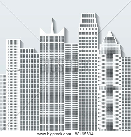 Modern Cityscape Vector Illustration With Office Buildings And Skyscrapers. Part B.
