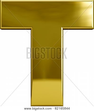 Gold Metal Letter T