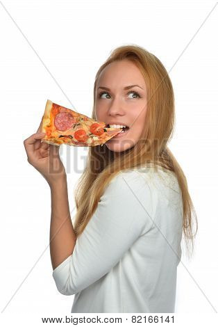Happy Woman Enjoy Eating Slice Of Pepperoni Pizza With Tomatoes Cheese