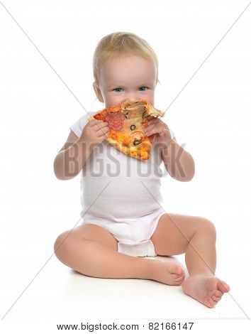 Infant Child Baby Toddler Sitting Enjoy Eating Slice Of Pepperoni Pizza