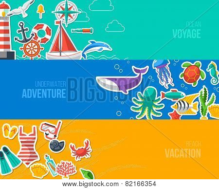 Summer Banners with marine symbols. Vector illustration.