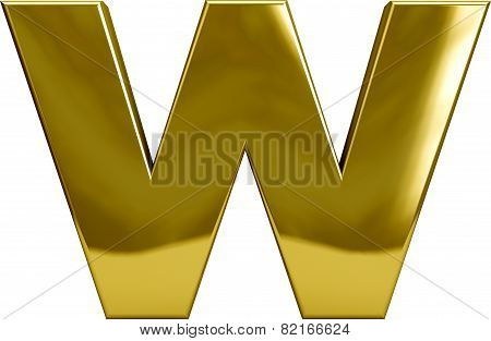 Gold Metal Letter W
