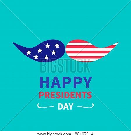 Mustaches with stars and stripes. Presidents Day background flat design