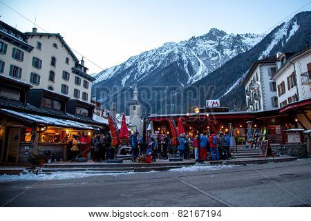 Outdoor Bar In Chamonix Town In French Alps, France